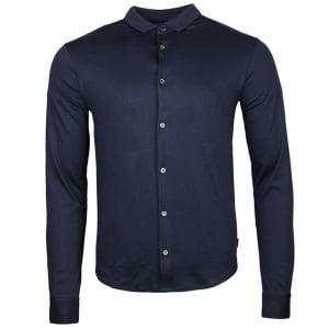 Emporio Armani Long Sleeve Silk Touch Polo Shirt in Navy