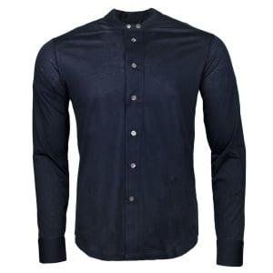 Emporio Armani Grandad Collar Shirt in Navy