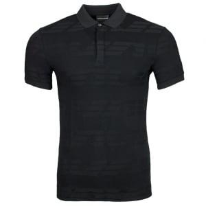 Emporio Armani Man Jersey Polo Shirt in Black
