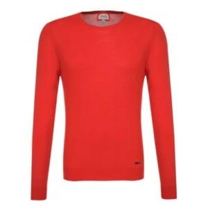 Plain Crew Neck Knitwear in Red