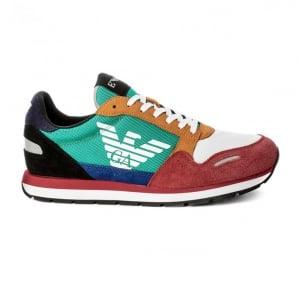 Emporio Armani Panels Sneaker in Multi Coloured