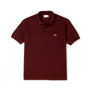 Lacoste Ribbed Polo Shirt in Maroon