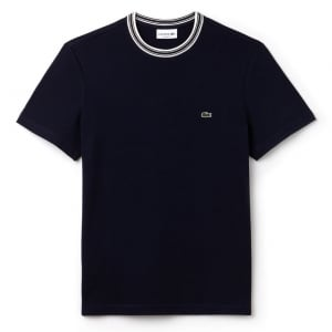 Lacoste White Trim T-Shirt in Navy