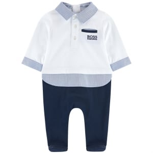 Baby Blue Collar All-in-One in White