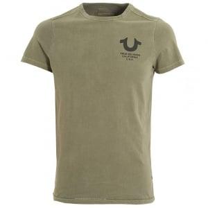 True Religion Black Logo Print T-Shirt in Khaki