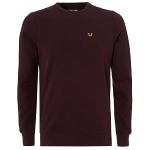 True Religion Metal Logo Sweatshirt in Burgundy