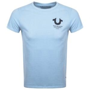True Religion Black Logo Print T-Shirt in Blue