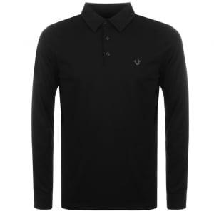 True Religion Long Sleeve Polo Shirt in Black