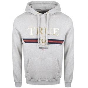 True Religion Logo Hoodie in Grey