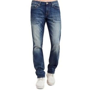 """True Religion Geno Dusty Rider 32"""" Regular Leg Jeans in Mid Wash"""