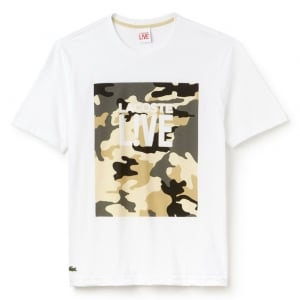 Lacoste Live Camo Chest T-Shirt in White