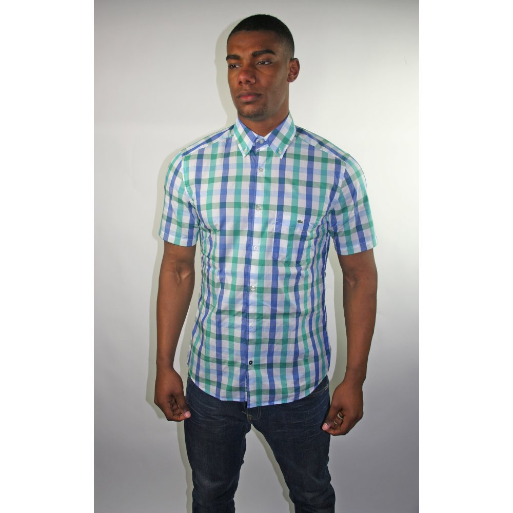 Lacoste check shirt for Short sleeve lacoste shirt