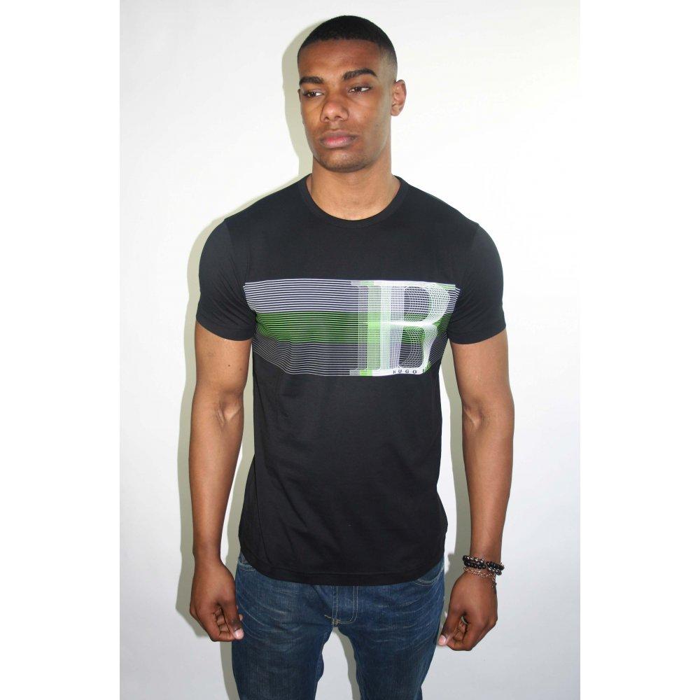 hugo boss green label black print t shirt. Black Bedroom Furniture Sets. Home Design Ideas
