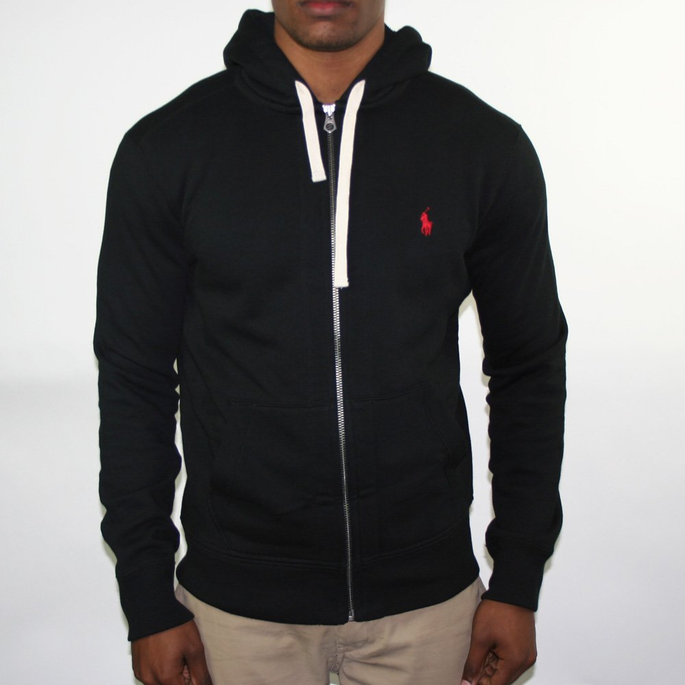 polo ralph lauren black zip hoodie polo ralph lauren from chameleon menswear uk. Black Bedroom Furniture Sets. Home Design Ideas