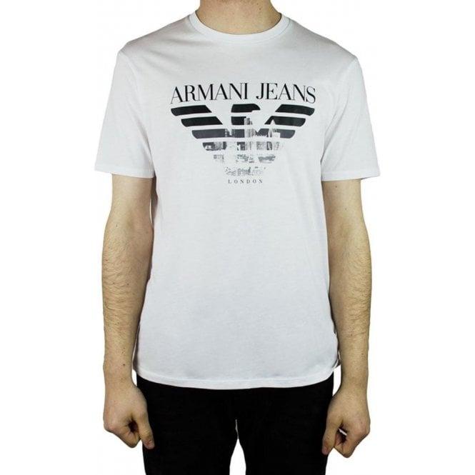 e3a0a085040 Armani Jeans Armani Jeans Big Logo T-Shirt in White Chameleon Menswear