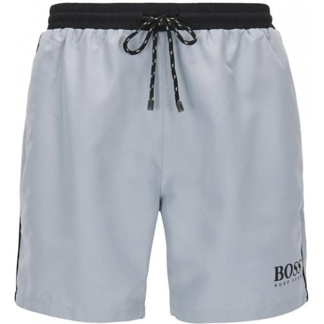 ad4f827063 Boss Black|Boss Black Starfish Swim Shorts in Silver|Chameleon Menswear