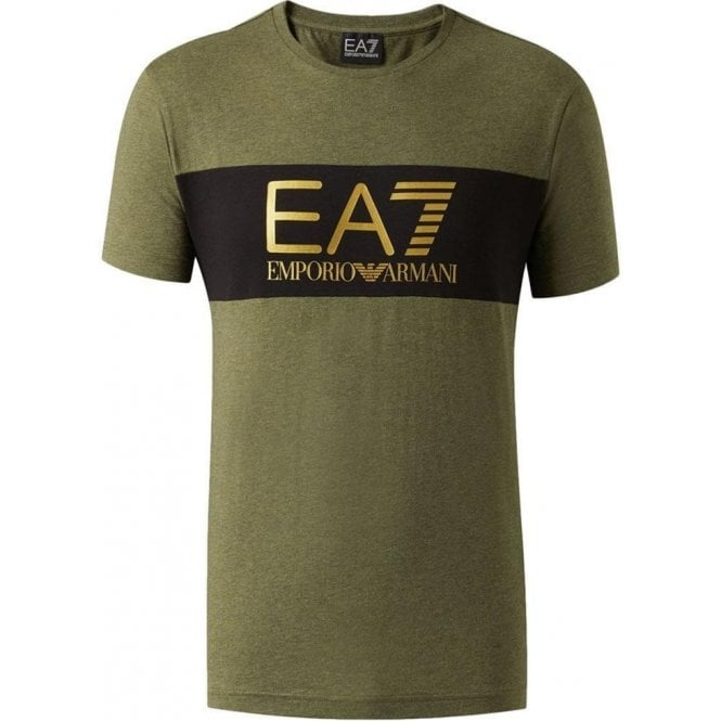 ffc2f25a Ea7|Ea7 Chest-Stripe Logo T-Shirt in Khaki |Chameleon Menswear