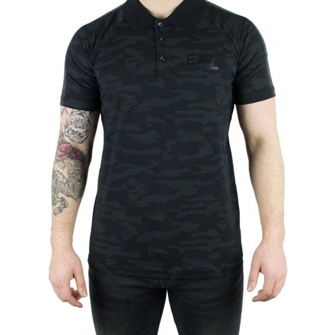 99f72115 Ea7 Ea7 Camo Polo Shirt in Black Chameleon Menswear