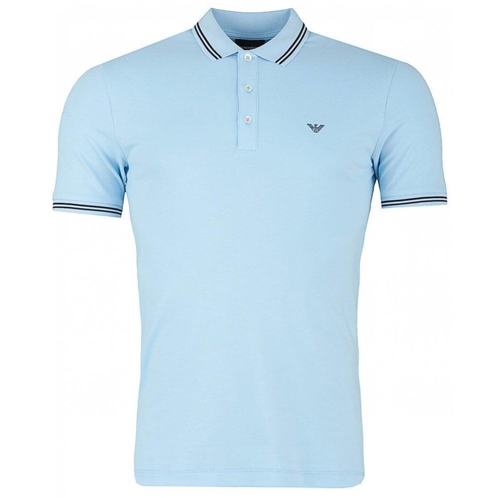 08fe4ad6 Emporio Armani Core Polo Shirt in Grey & Sky Blue Chameleon Menswear