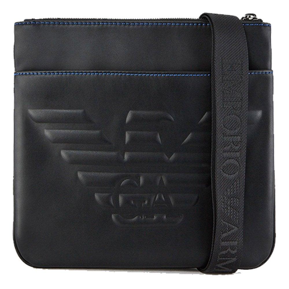 2728277176 Emporio Armani Emporio Armani Debossed Logo Cross Body Bag in Black