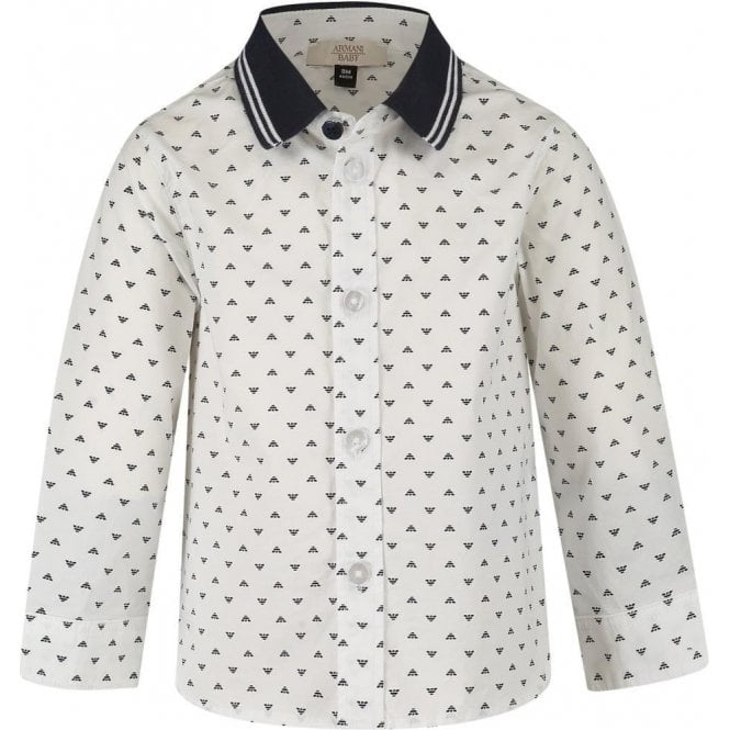 79c7ed5b3 Armani Junior|Armani Junior 6 Months -3 Years All-Over Logo Shirt in ...