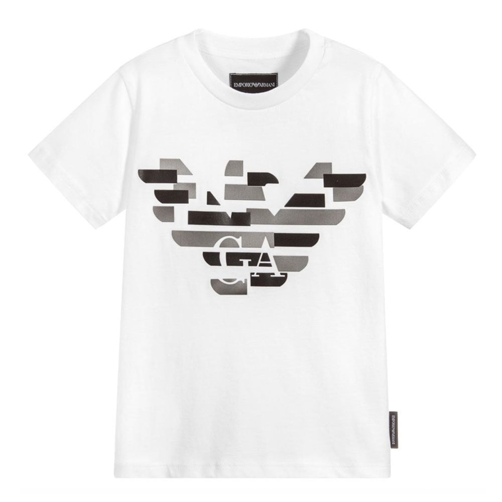 Distorted Eagle Print T-Shirt in White 8558b71f0