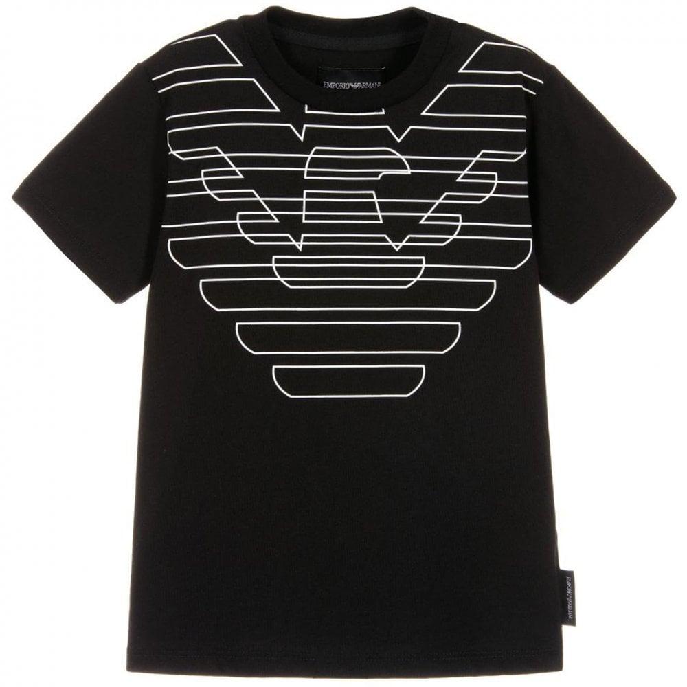 39163fc9 Emporio Armani Kids Eagle Logo T-Shirt in Black