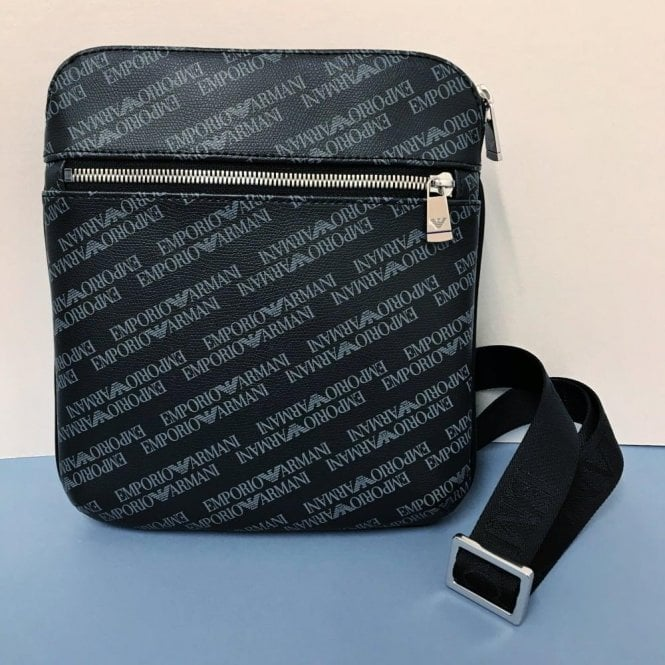 84355c9221 Emporio Armani Emporio Armani Logo Print Pouch Cross Body Bag in Black