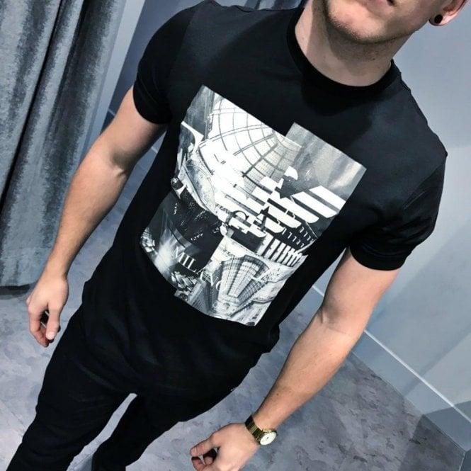 d2cc786e Armani T Shirts | Milano T Shirt Black | Chameleon Menswear