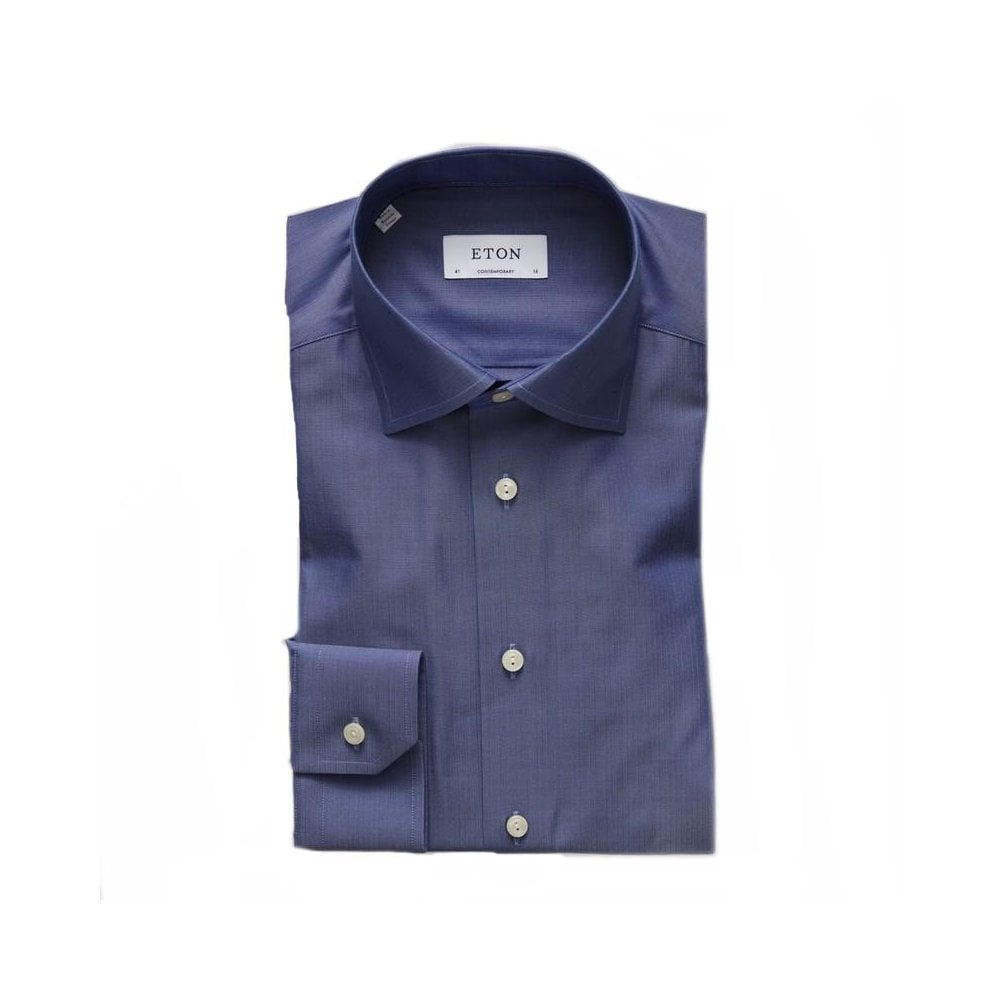 3aa0632be1a Eton Shirts Herringbone Shirt in Navy - Menswear from Chameleon ...