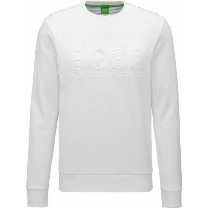 67531e8322 Boss Green|Boss Green Salbo Sweatshirt in White|Chameleon Menswear