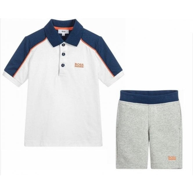b7f4c9823 Hugo Boss Kids|Boss Kids Polo Shirt and Shorts in White|Chameleon ...
