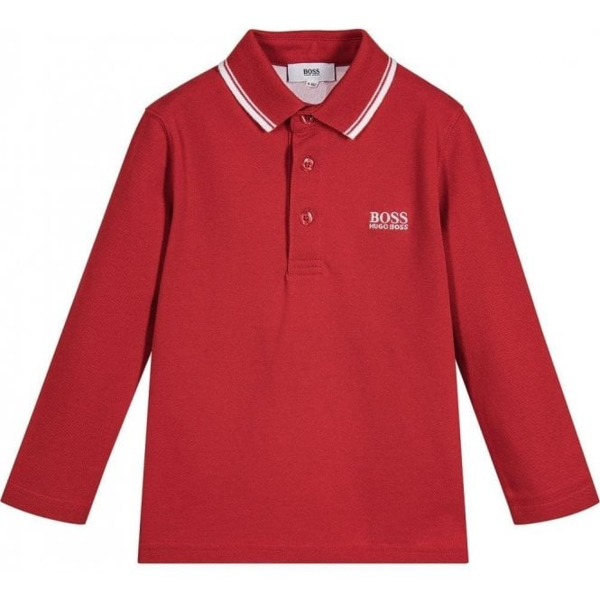 4686905a0 Boss Kids Big Kids Long Sleeve Polo in Red