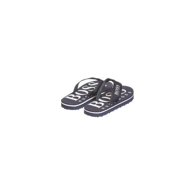0188548296e66 Boss Kids Logo Flip Flops in Navy