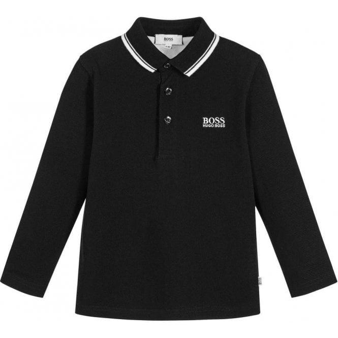 0111be5a Hugo Boss Kids|Boss Kids Polo Long Sleeve Polo in Black|Chameleon ...