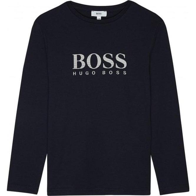 75b4d052 Hugo Boss Kids|Boss Kids Long Sleeve T-Shirt in Navy|Chameleon Menswear