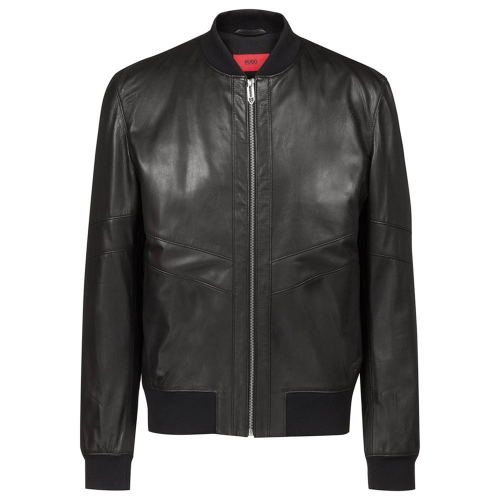 80b93b13332d Lachlan Leather Bomber Jacket in Black