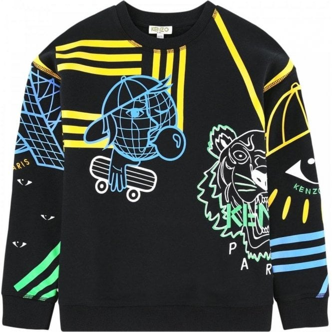 Kenzo Kids Kenzo 14-16 Years Cosmic Sweatshirt in Black Chameleon ... 2516120f05e