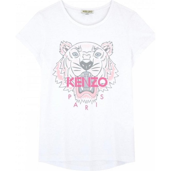 5a7652e326 Kenzo Kids|Kenzo 14-16 Years Pink Tiger T-Shirt in White|Chameleon ...