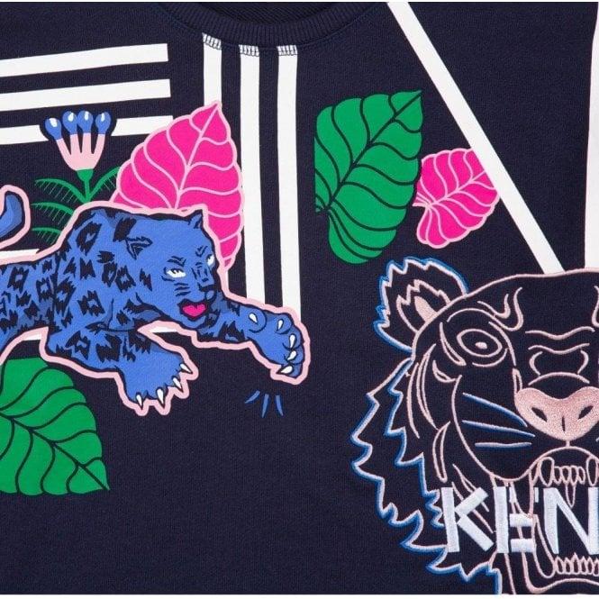 a084368bc Kenzo Kids|Kenzo 8-12 Years Tiger Leaf Sweatshirt in Navy|Chameleon ...