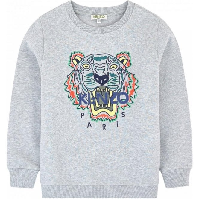 6e686470 Kenzo Kids 8-12 Years Tiger Sweatshirt in Grey