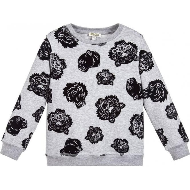 53cca25d7d84 8-12 Years Velvet Tiger Sweatshirt in Grey