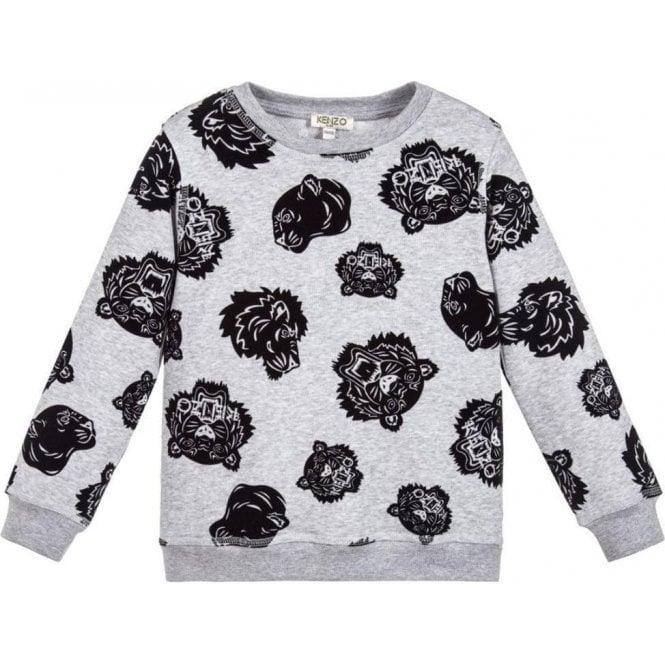 b609980e0 Kenzo Kids|Kenzo 8-12 Years Velvet Tiger Sweatshirt in Grey ...
