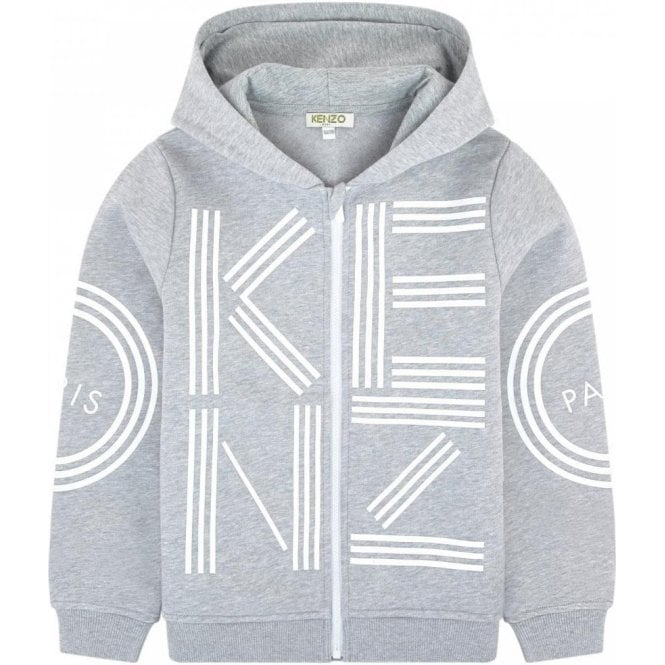 eaeaa072f Kenzo Kids|Kenzo 8-12 Years Zip Hooded Sweatshirt in Grey|Chameleon ...