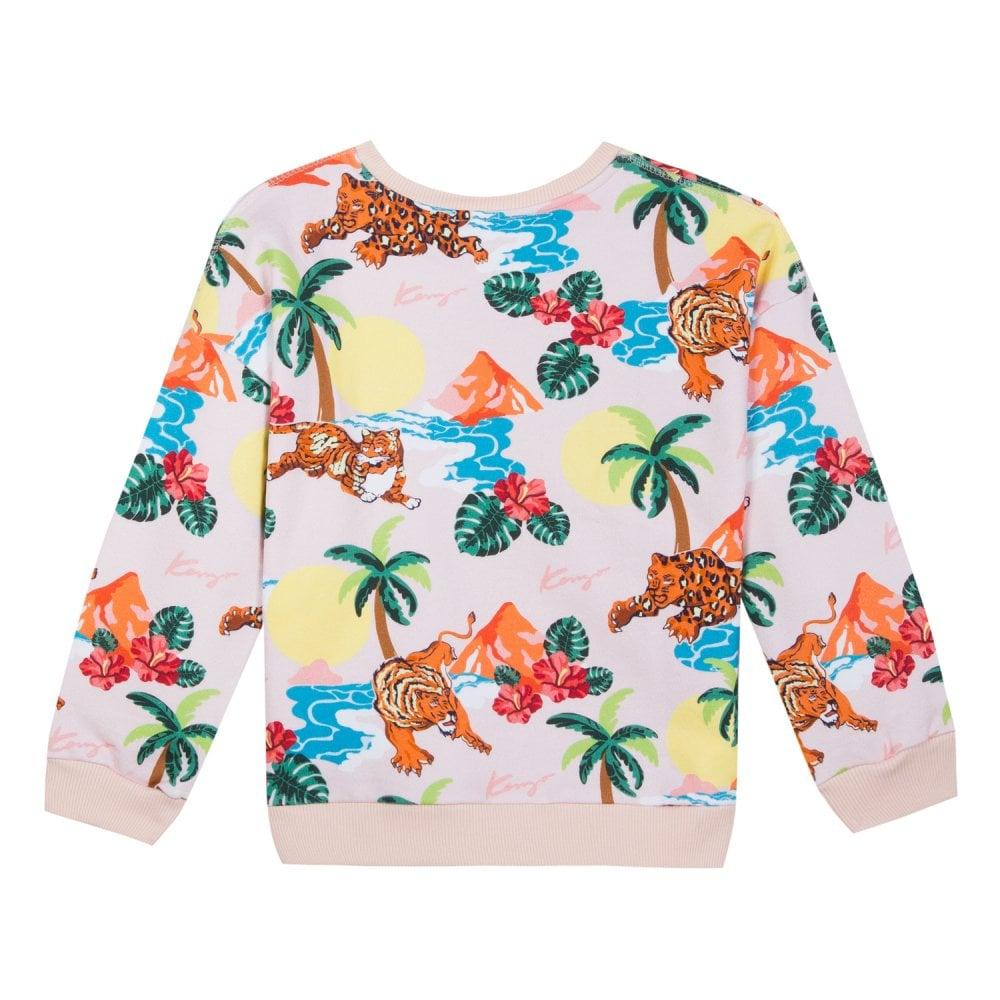 03f23fdb Kenzo Kids Tiger Palm Tree Sweatshirt in Light Pink