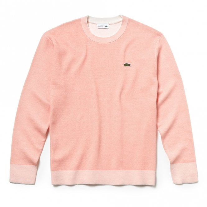 Lacoste Bicolour Knit Effect Cotton Sweater in Salmon