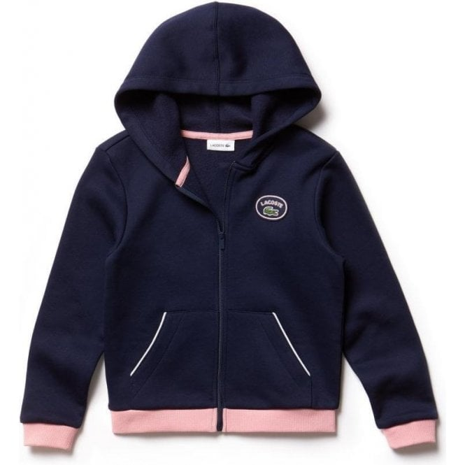 84957ee7dfb26 Lacoste Kids 2 Years Zippered Sweatshirt in Navy and Pink
