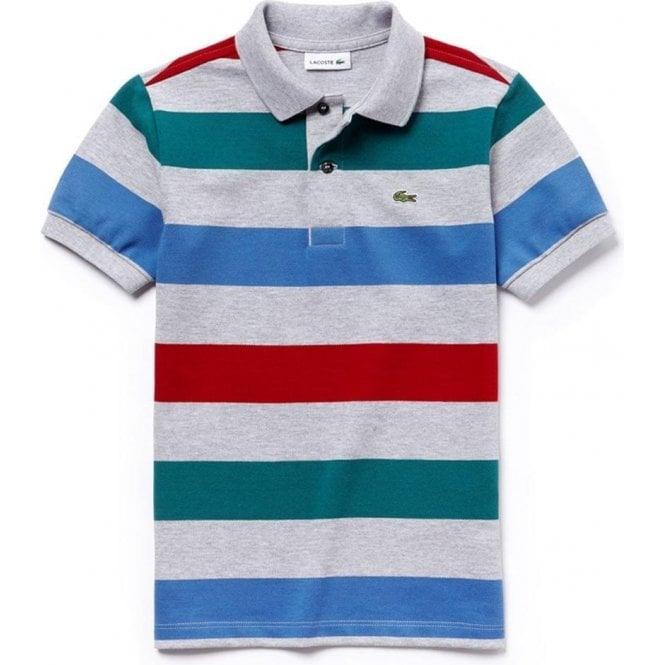 29fe1484 Lacoste Kids|Lacoste Kids Stripe Polo Top in Grey|Chameleon Menswear