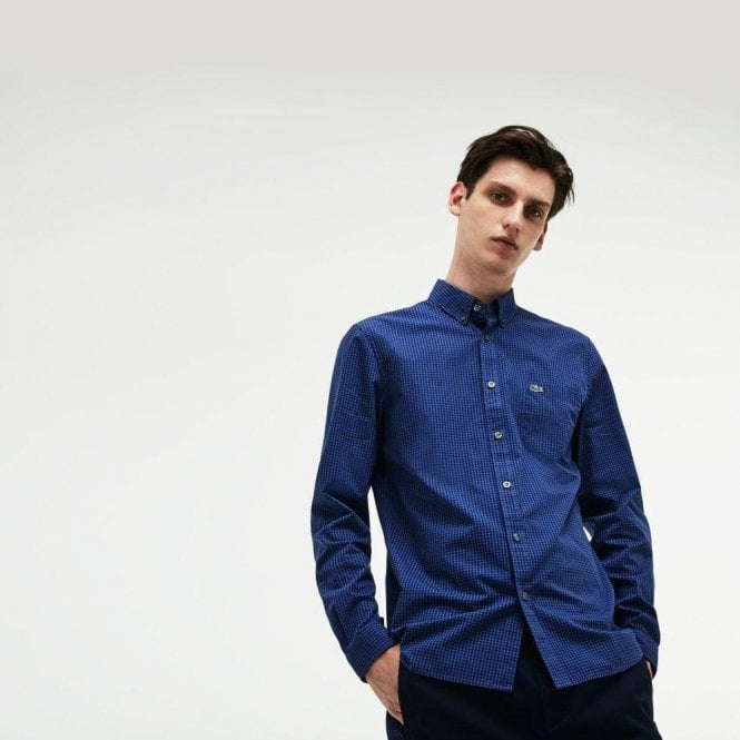 5c7395ee Lacoste Lacoste Small Check Shirt in Blue