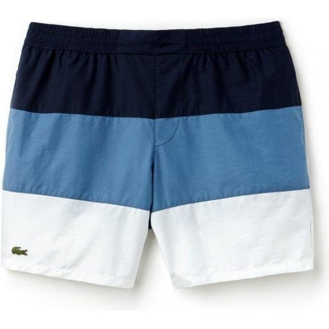 0b9fee5239923 Lacoste|Lacoste Stripe Swim Shorts in Navy|Chameleon Menswear